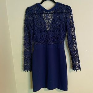 Navy lace appliqué dress